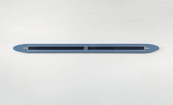 Gianni Piacentino, Blue Gray Decorated Initialed Oval Bar, 1970
