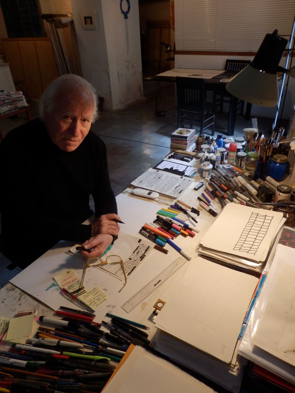 Ennio Tamburi in studio, 2018