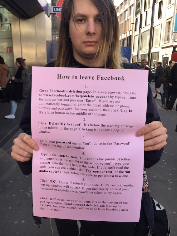 Jeremy Deller, How to Leave Facebook, Courtesy Rapid Response Unit