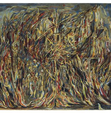 Maria Helena Vieira Da Silva, L'incendie I, 1944, £ 2.048.750 (courtesy of Christie's Images Limited 2018 ©)