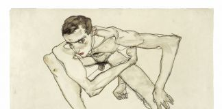 Egon Schiele, Self Portrait in Crouching Position 1913, Gouache and graphite on paper, Moderna Museet Stockholm, Photo Moderna Museet Stockholm