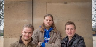 Co-founder of Artland, Mattis Curth, investor, handball player and collector Mikkel Hansen and co-founder of Artland, Jeppe Curth. Courtesy of Artland
