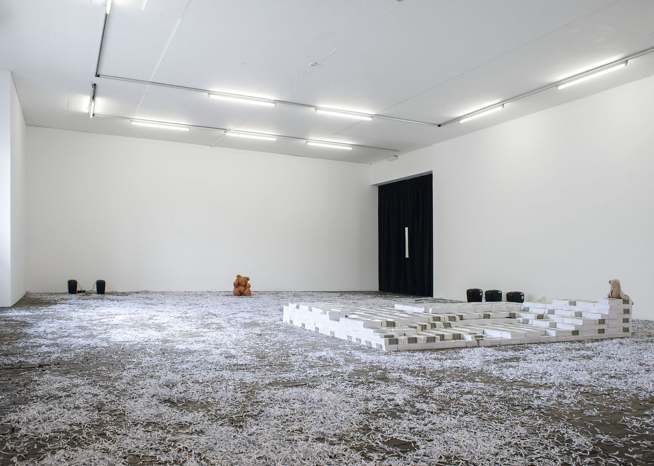 Hannah Black, The Situation, 2017 & Transitional Objects, 2017. Exhibition view of ANXIETINA by Hannah Black, Bonaventure & Ebba Fransén Waldhör at Centre d'Art Contemporain Genève, 2018. Courtesy of the artists. Photo Charlotte Krieger