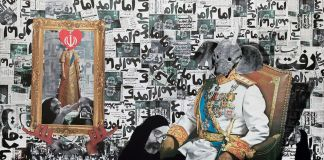Ramin Haerizadeh, He Came, He Left, He Left, He Came, 2010, mixed media and collage on canvas, 78 3/4 × 118 1/8 in., The Farook Collection, Dubai, © Ramin Haerizadeh, photo courtesy Gallery Isabelle van den Eynde