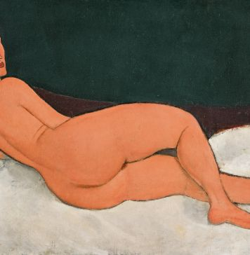 Amedeo Modigliani, Nu couché (sur le côté gauche). Signed Modigliani (lower left). Oil on canvas 35 1/4 by 57 3/4 in.; 89.5 by 146.7 cm. Painted in 1917. Sold for $157,159,000