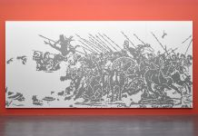 Simon Wachsmuth, The Battle of Alexander, 2007. Installation view at Belvedere 21, Vienna 2015 © Belvedere, Vienna. Photo Johannes Stoll