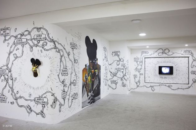 André Smits & Monika Dahlberg. Doodles e stream of images. Installation view at SAACI Gallery, Napoli 2018. Photo Giuseppe Natale