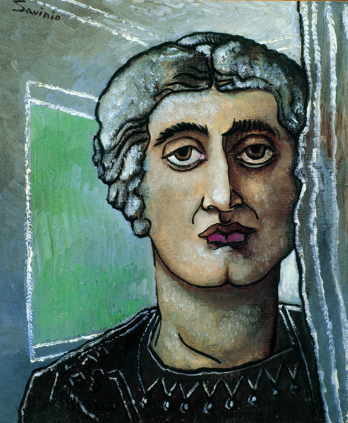 Alberto Savinio, Apollinaire. Tête antique, 1927, olio su tela, cm 55,5x46,5. Collezione privata. Courtesy Galleria dello Scudo, Verona