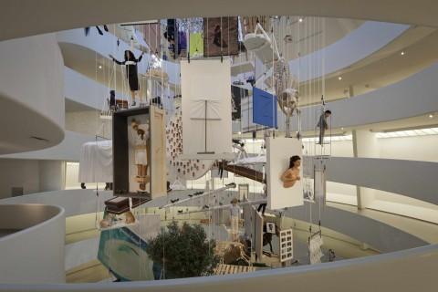 Maurizio Cattelan - All - veduta della mostra presso il Guggenheim Museum, New York 2011 - photo David Heald