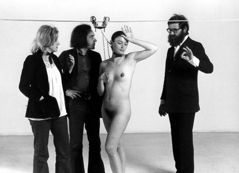 Vettor e Mimma Pisani, Michelangelo e Maria Pistoletto, per la preparazione della mostra Plagio, 1973 - photo Elisabetta Catalano