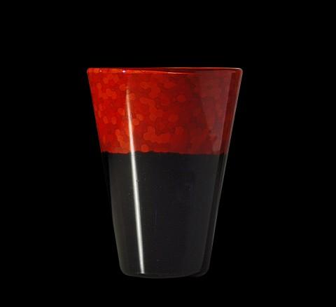 Carlo Scarpa - Laccati neri e rossi, vaso in vetro nero e rosso a incalmo - 1940