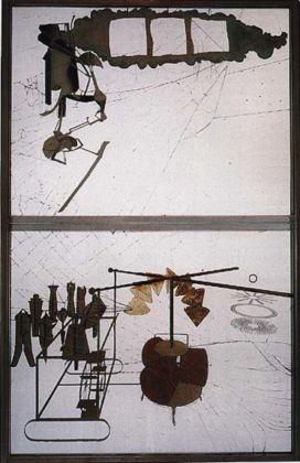 Marcel Duchamp, La Sposa messa a nudo dai suo Scapoli, anche (Il Grande Vetro), 1915-23