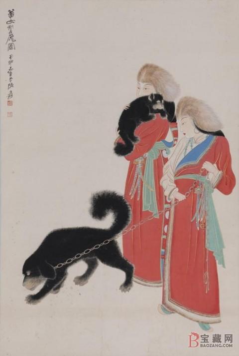 Zhang Daqian - Tibetan Women with Dogs