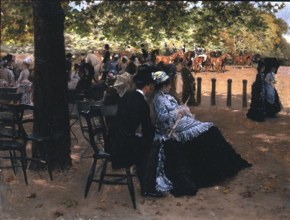 Giuseppe De Nittis, Fliration, Hyde Park (Accanto alla pista), 1874. Napoli, Galleria Vittoria Colonna