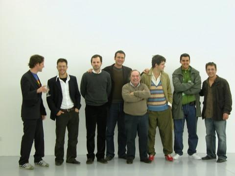 Tucci Russo con Andrea Bellini e gli artisti della mostra S.N.O.W. (Sculpture in Non-Objective Way) - 2005