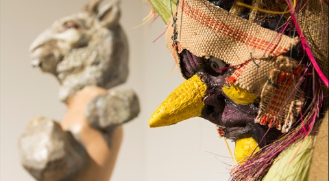 Marnie Weber, Picnic Pig Scarecrows, 2011. Fabric, foam, resin, wood, pitch fork, picnic basket, fake fruit and vegetables, acrylic paint, glass eyes. Courtesy of the artist. Photography by theonepointeight