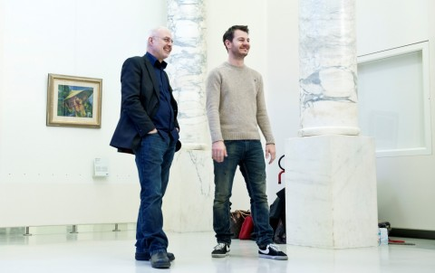 Francesco Bonami con Alessandro Cattelan, divulgatore per Sky Arte