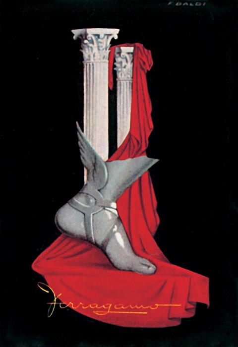 L'Etrusco (Fernando Baldi), Manifesto pubblicitario per Salvatore Ferragamo - documentato in Modern Publicity 1950-1951, Frank A. Mercer & Charles Rosner, London & New York, 1951