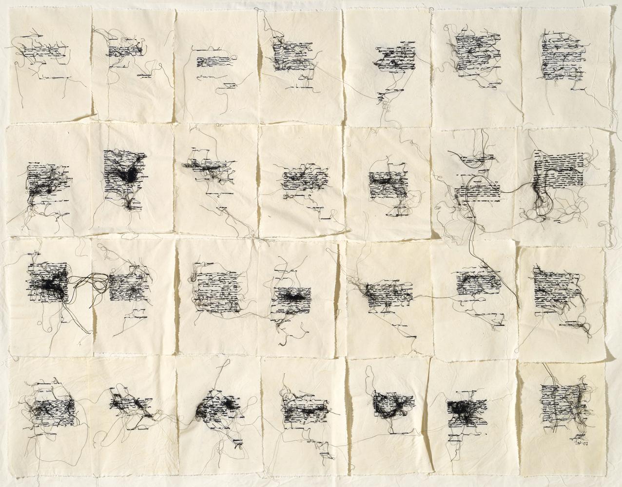 Maria Lai, Le scritture della notte, 2007, filo su tela, cm 103 x 131