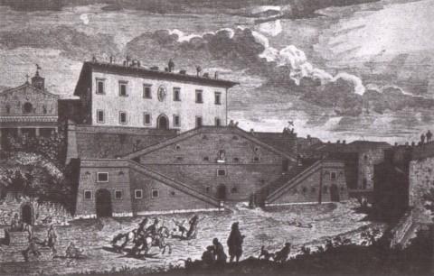 Toscana - la villa medicea di Cerreto Guidi in una stampa settecentesca di Giuseppe Zocchi