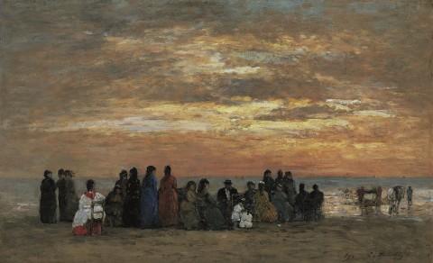 Eugène Boudin, Scène de plage, 1869 - Madrid, Collection Carmen Thyssen-Bornemisza
