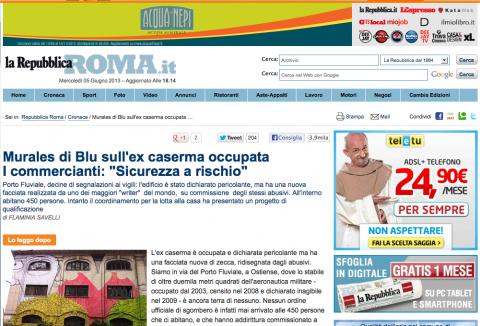 L'articolo di La Repubblica Roma con la correzione