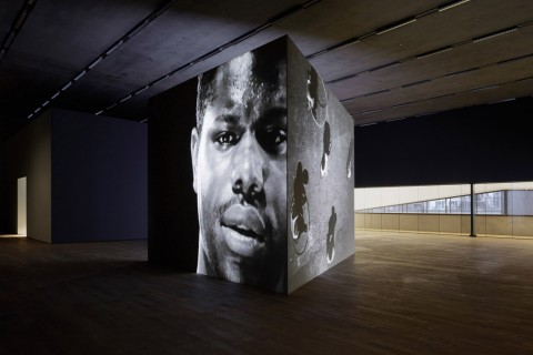 Steve McQueen, Bear, 1993 - veduta dell'allestimento presso lo Schaulager, Basilea 2013 - courtesy the Artist & Marian Goodman Gallery, New York-Paris & Thomas Dane Gallery, London - photo Tom Bisig, Basel