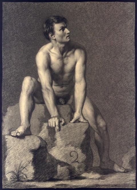Il Piccio, Nudo maschile, 1820, disegno a matita su carta, cm. 52x37,5