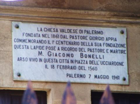 Chiesa Valdese di Palermo - lapide in memoria del Pastore Bonelli, martire dell'Inquisizione