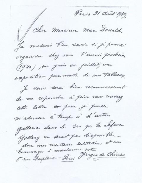 Lettera di Giorgio de Chirico, 21 agosto 1939