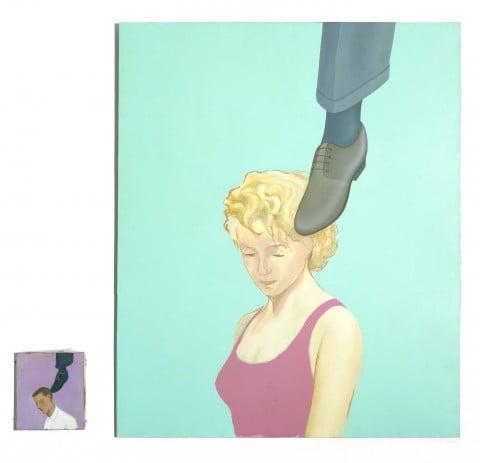 Francis Alÿs, Untitled (Man-Woman with shoe on head, Liar Series, dittico),1995 - collezione Iannaccone