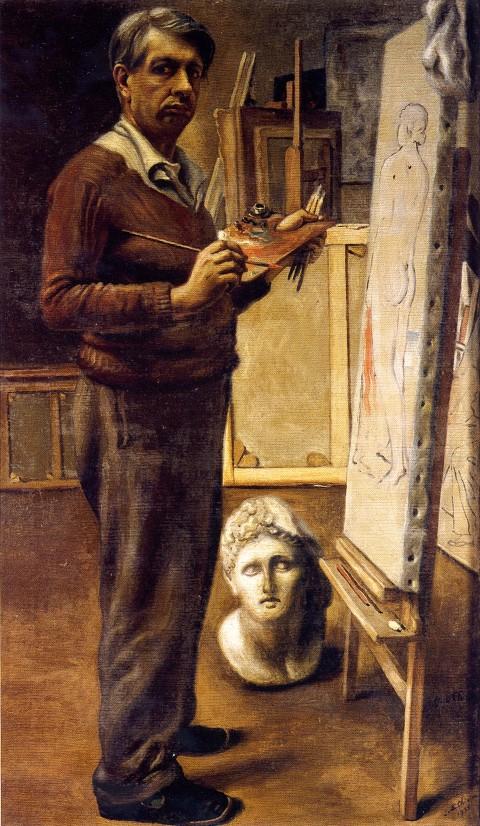 Giorgio de Chirico, Autoritratto nello studio di Parigi, 1934 - Roma, Galleria Nazionale d'Arte Moderna