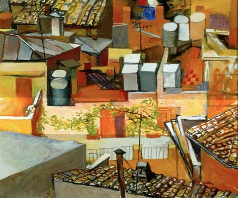 Renato Guttuso, I tetti di via Leonina con rampicante, 1962-1964, olio su tela, cm 106 x 85 - courtesy Galleria d'Arte Maggiore, Bologna