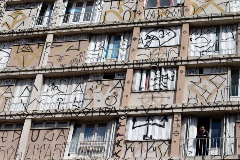 La Tour Paris 13 - Un dettaglio della facciata realizzata da Ethos con la sua crew di pixadores