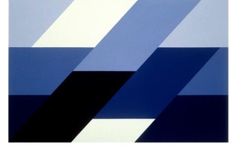 Sergio Lombardo, Mappa toroidale ettacromatica monomorfa, 1997, vinilico su tela, cm 45x71