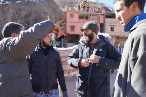 Alessandro Facente e Andrea Nacciarriti in un momento di lavoro  per il progetto di Angelo Bellobono, Atla(s)now, Imlil, Morocco 2013