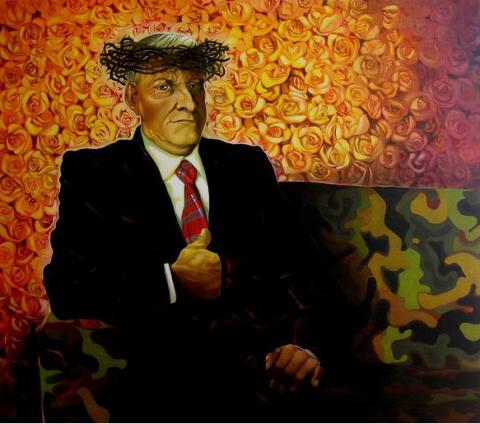 Alfonso Leto, Anciène Regime, olio su tavola, 2008, 115 x 113 cm