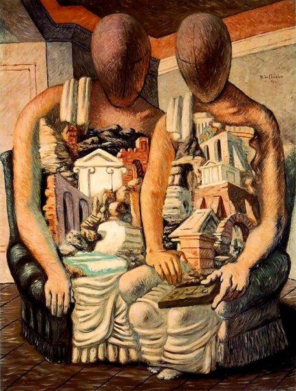 Giorgio de Chirico, Archeologi, 1927, olio su tela, GNAM Roma
