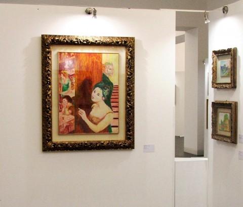 In primo piano Milly al caffè, di Aligi Sassu, olio su tela, cm 82x62, 1964