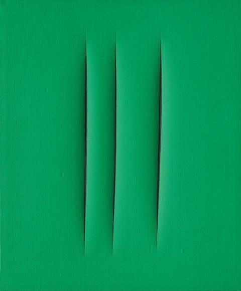 Lucio Fontana, Concetto spaziale, Attese, 1961, idropittura su tela verde, cm 65x50 - courtesy Mazzoleni Galleria d'Arte, Torino