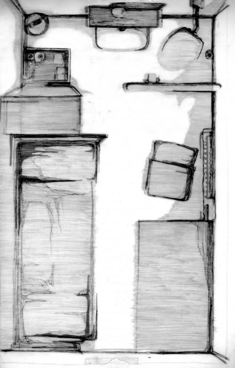 Mara Piras, Senza titolo #34, 2012 - biro su carta da lucido applicata su carta, 30 x 20 cm