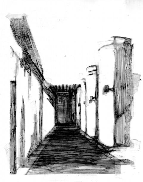 Mara Piras, Senza titolo #04, 2012 - biro su carta da lucido applicata su carta, 30 x 20 cm