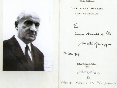 Martin Heidegger, dedica a Pio e Anna Monti, 1969