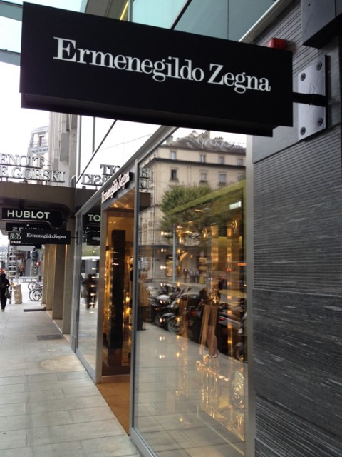 La boutique di Ermenegildo Zegna a Ginevra