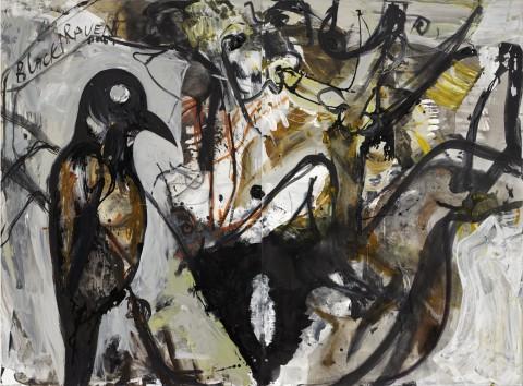 Tsibi Geva, Black Raven, 2012, dittico, acrilico su tela - collezione privata