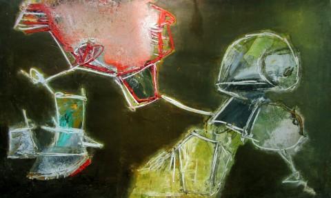 Pinot Gallizio, L'insolito dalla luce verde, 1962, olio su tela