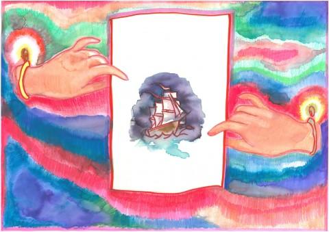 Alice Mandelli, Veliero, 2013, pennarello, pastello, acquerello su carta A3