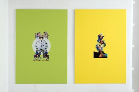 Angelo Formica, Primo tempo, 2013, collage su forex in teca, cm 100x140 (2 elementi) - photo Giorgio Benni