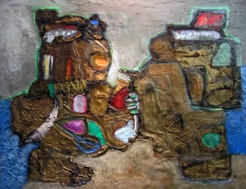 Pinot Gallizio, La luce proibita, 1961, olio su tela