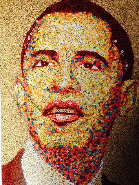 Hanck Willis Thomas & Ryan Alexiev, Ritratto di Obama fatto con cereali - courtesy Wild Art, ed by David Carrier and Joachim Pissarro, Phaidon, 2013